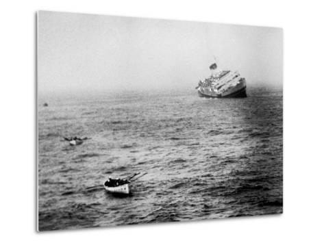 Italian Liner Andrea Doria Sinking in Atlantic After Collision with Swedish Ship Stockholm-Loomis Dean-Metal Print