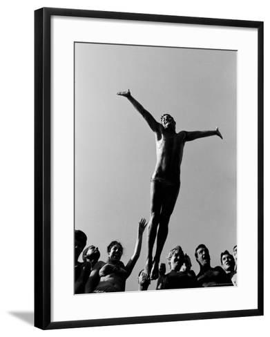 Italian Man Showing Off at a Swimming Pool-Paul Schutzer-Framed Art Print
