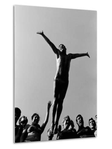 Italian Man Showing Off at a Swimming Pool-Paul Schutzer-Metal Print