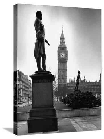 Legendary Clock Tower Big Ben Framed by Statues of Lord Palmerston and Jan Smuts-Alfred Eisenstaedt-Stretched Canvas Print