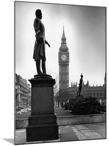 Legendary Clock Tower Big Ben Framed by Statues of Lord Palmerston and Jan Smuts-Alfred Eisenstaedt-Mounted Photographic Print