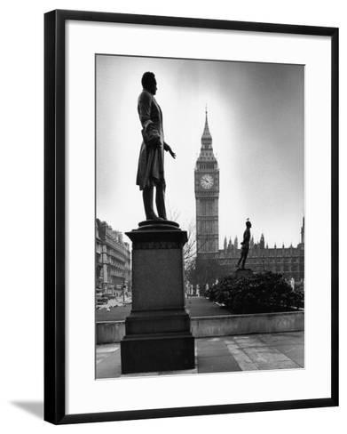 Legendary Clock Tower Big Ben Framed by Statues of Lord Palmerston and Jan Smuts-Alfred Eisenstaedt-Framed Art Print