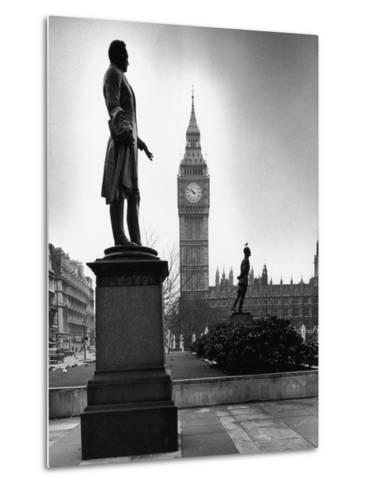 Legendary Clock Tower Big Ben Framed by Statues of Lord Palmerston and Jan Smuts-Alfred Eisenstaedt-Metal Print