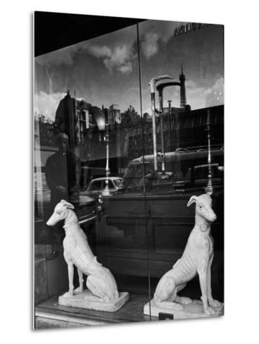 Ceramic Hounds in Window of Antique Shop-Alfred Eisenstaedt-Metal Print