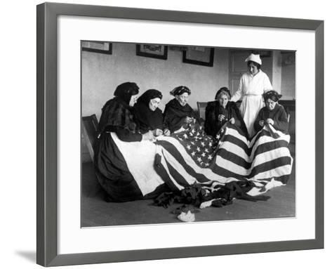 Patriotic Old Female Immigrants Sewing an American Flag under Supervision of Instructor Rose Radin--Framed Art Print