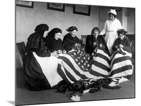 Patriotic Old Female Immigrants Sewing an American Flag under Supervision of Instructor Rose Radin--Mounted Photographic Print