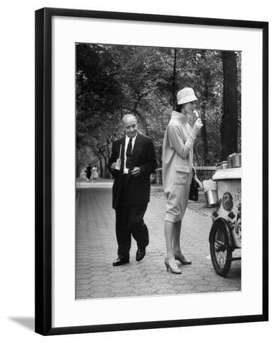 "Woman Wearing Copy of Givenchy's Beige Jersey ""Bag"" Dress and Cloche Like Hat-Yale Joel-Framed Art Print"