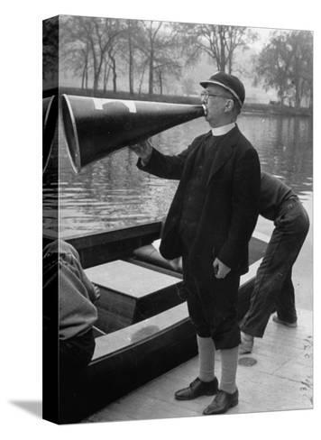 Kent School Headmaster Father Sill Yelling Through Megaphone to Crew Team-Peter Stackpole-Stretched Canvas Print