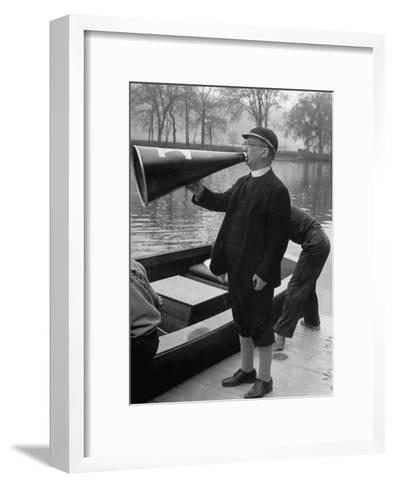 Kent School Headmaster Father Sill Yelling Through Megaphone to Crew Team-Peter Stackpole-Framed Art Print