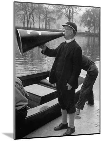 Kent School Headmaster Father Sill Yelling Through Megaphone to Crew Team-Peter Stackpole-Mounted Photographic Print