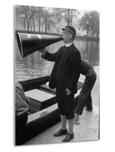 Kent School Headmaster Father Sill Yelling Through Megaphone to Crew Team-Peter Stackpole-Metal Print