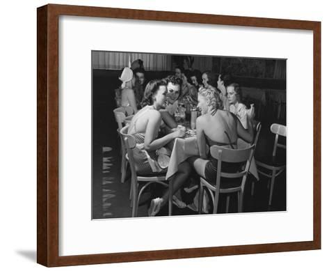 Fashion Models Taking Their Lunch Break at the Racquet Club Cafe-Peter Stackpole-Framed Art Print