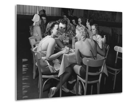 Fashion Models Taking Their Lunch Break at the Racquet Club Cafe-Peter Stackpole-Metal Print
