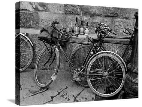 Bicycles Leaning Against the Concrete Wall-Carl Mydans-Stretched Canvas Print