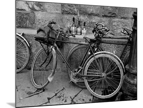 Bicycles Leaning Against the Concrete Wall-Carl Mydans-Mounted Photographic Print