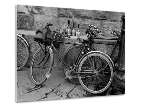 Bicycles Leaning Against the Concrete Wall-Carl Mydans-Metal Print