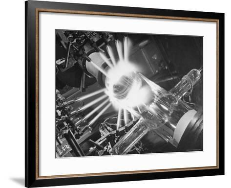 Laboratory Scene of Oxygen Hydrogen Flames Heating a Long Glass Tube to 900 Degrees Centigrade-Andreas Feininger-Framed Art Print
