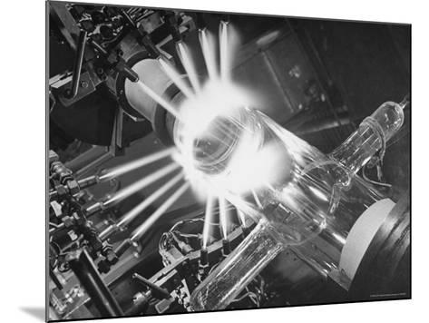 Laboratory Scene of Oxygen Hydrogen Flames Heating a Long Glass Tube to 900 Degrees Centigrade-Andreas Feininger-Mounted Photographic Print
