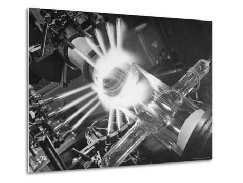 Laboratory Scene of Oxygen Hydrogen Flames Heating a Long Glass Tube to 900 Degrees Centigrade-Andreas Feininger-Metal Print