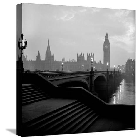 View of the Houses of Parliament as Seen Across Westminster Bridge at Dawn-Nat Farbman-Stretched Canvas Print