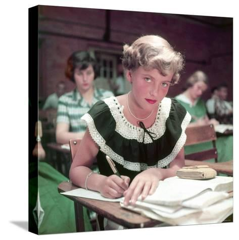 15 Year Old High School Student Rue Lawrence in Class at New Trier High School Outside Chicago-Alfred Eisenstaedt-Stretched Canvas Print