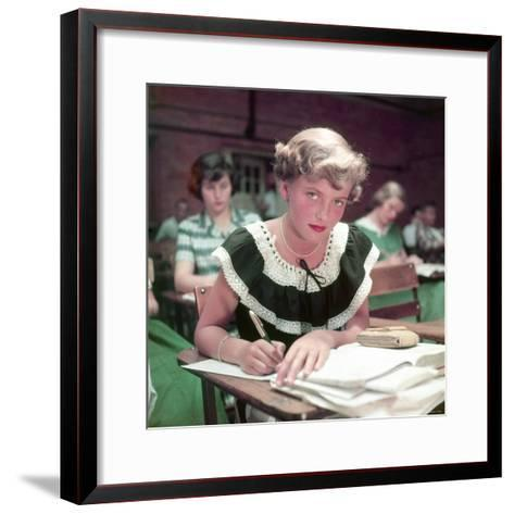 15 Year Old High School Student Rue Lawrence in Class at New Trier High School Outside Chicago-Alfred Eisenstaedt-Framed Art Print
