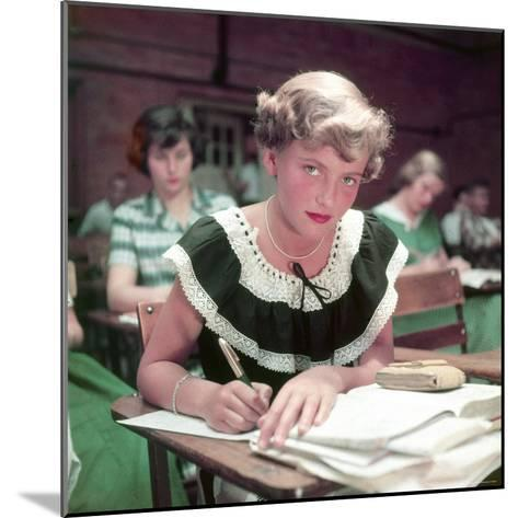 15 Year Old High School Student Rue Lawrence in Class at New Trier High School Outside Chicago-Alfred Eisenstaedt-Mounted Photographic Print