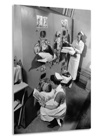 Nurses at Children's Hospital Tending Young Polio Patients Contained in Iron Lung Room-Hansel Mieth-Metal Print