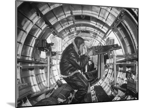 Crewman Poking His 50 Cal. Machine Gun Out of Side Window of B-17E Flying Fortress During WWII-Frank Scherschel-Mounted Photographic Print