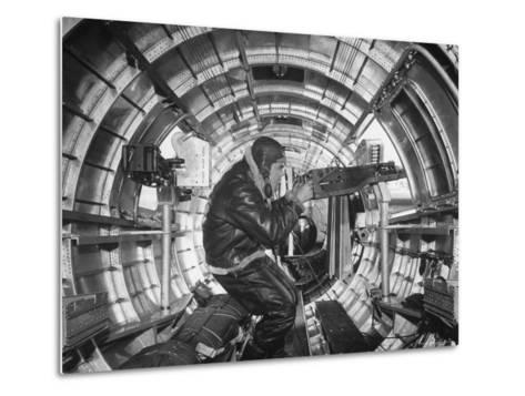 Crewman Poking His 50 Cal. Machine Gun Out of Side Window of B-17E Flying Fortress During WWII-Frank Scherschel-Metal Print