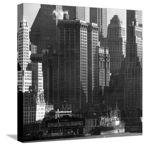 Panoramic View of Buildings in Lower Manhattan Taken from the New Jersey Banks of the Hudson River-Andreas Feininger-Stretched Canvas Print