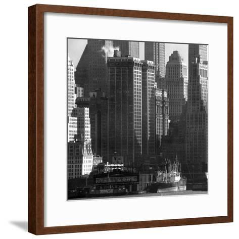 Panoramic View of Buildings in Lower Manhattan Taken from the New Jersey Banks of the Hudson River-Andreas Feininger-Framed Art Print
