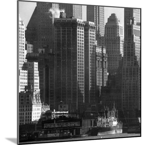 Panoramic View of Buildings in Lower Manhattan Taken from the New Jersey Banks of the Hudson River-Andreas Feininger-Mounted Photographic Print