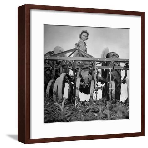 Patricia Colleen Altree Harrowing a Corn Field-J^ R^ Eyerman-Framed Art Print