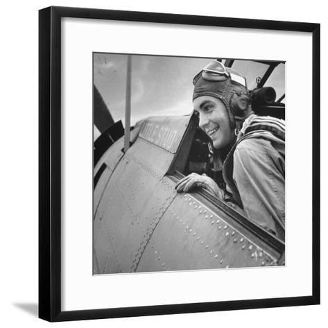 US Pilot at Midway Naval Base-Frank Scherschel-Framed Art Print