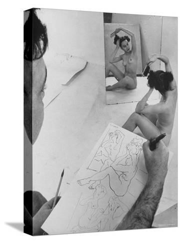David Fredenthal Drawing Nude Model-Gjon Mili-Stretched Canvas Print