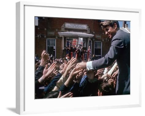 Democratic Presidential Contender Bobby Kennedy Shaking Hands in Crowd During Campaign Event-Bill Eppridge-Framed Art Print