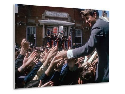 Democratic Presidential Contender Bobby Kennedy Shaking Hands in Crowd During Campaign Event-Bill Eppridge-Metal Print