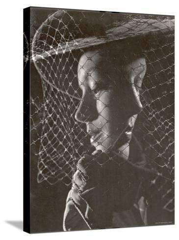 Double Exposure of Model Wearing Hat with Heavy Face Veil, c.1946-Gjon Mili-Stretched Canvas Print