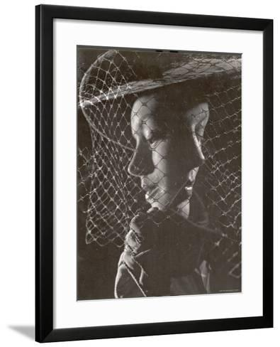 Double Exposure of Model Wearing Hat with Heavy Face Veil, c.1946-Gjon Mili-Framed Art Print