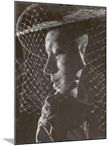 Double Exposure of Model Wearing Hat with Heavy Face Veil, c.1946-Gjon Mili-Mounted Photographic Print