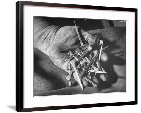 Man Holding Nails That Have Been Pulled from Old Horseshoes-Fritz Goro-Framed Art Print