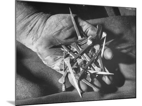 Man Holding Nails That Have Been Pulled from Old Horseshoes-Fritz Goro-Mounted Photographic Print