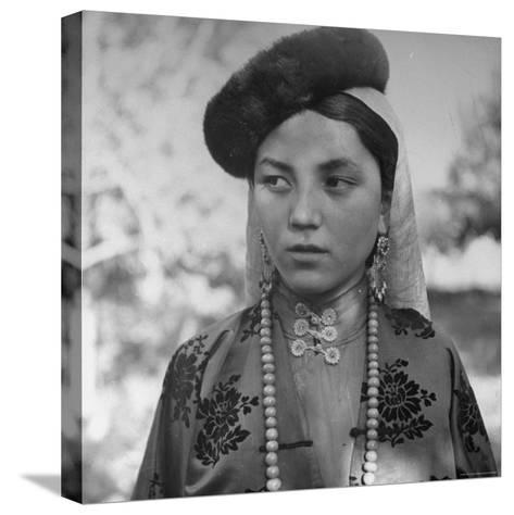 Close Up of Uighur Girl from Kashgar-William Vandivert-Stretched Canvas Print