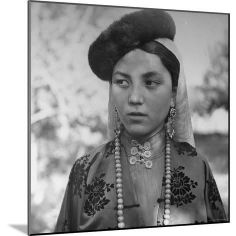 Close Up of Uighur Girl from Kashgar-William Vandivert-Mounted Photographic Print