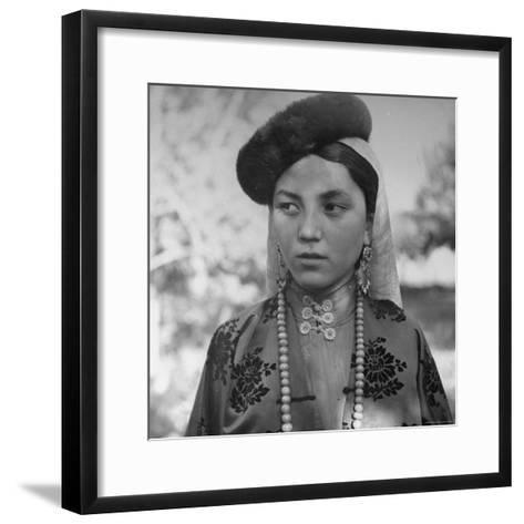 Close Up of Uighur Girl from Kashgar-William Vandivert-Framed Art Print