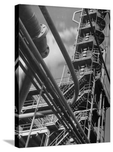 Exterior View of a Refinery and Factory-Andreas Feininger-Stretched Canvas Print