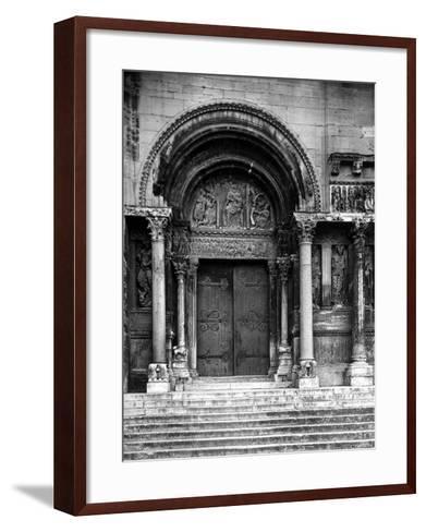 Close Up of Left Portal of Romanesque Church of St. Gilles du Gard, Provence-Gjon Mili-Framed Art Print