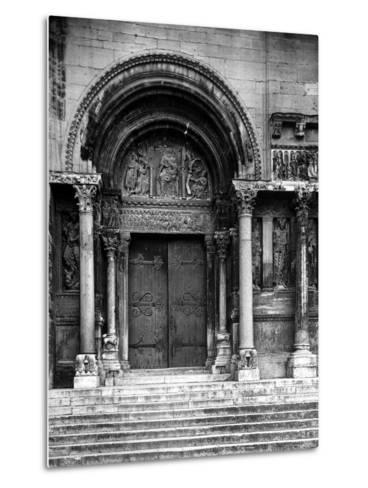 Close Up of Left Portal of Romanesque Church of St. Gilles du Gard, Provence-Gjon Mili-Metal Print