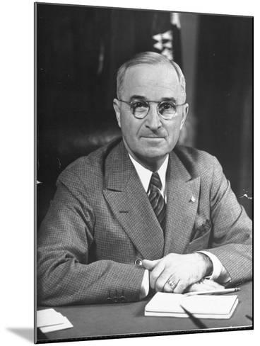 Harry S. Truman Sitting at Desk-Marie Hansen-Mounted Photographic Print